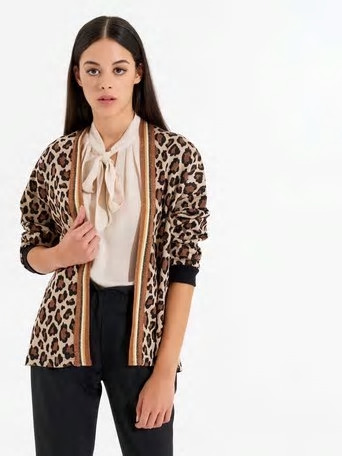 cardigan animal print Rinascimiento