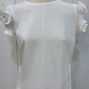 blusa blanca manga plisada