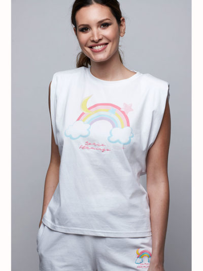 camiseta arco iris space flamingo
