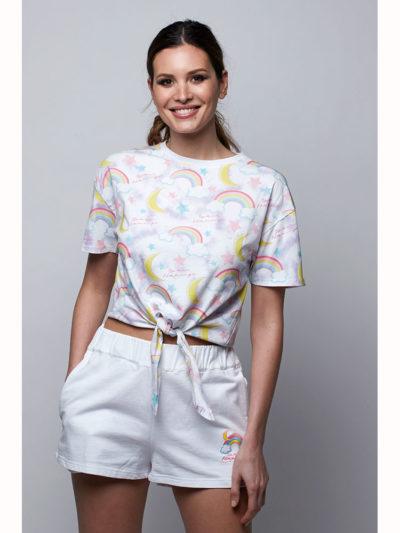camiseta estampada arco iris space flamingo